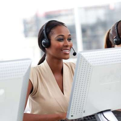 customer service agent woman with headset